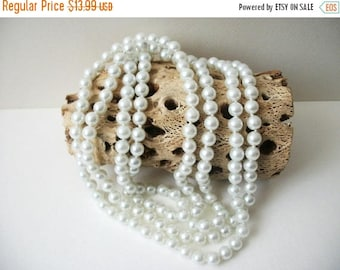 ON SALE Vintage Pearly White 60 Inch No Clasp Glass Pearls Necklace 121016