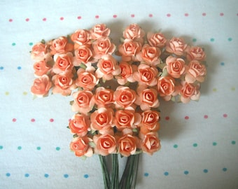 Peach Paper Millinery Flowers, Small Sized Roses (36)