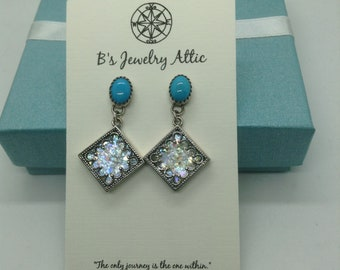 Roman Glass and Turquoise Earrings