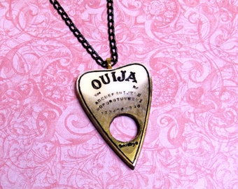 black and white gold shimmer resin charm goth ouija board planchette necklace