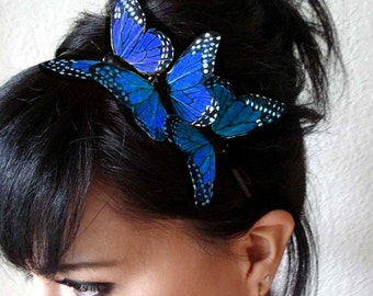 blue butterfly headband - feather butterfly headpiece - bridal headband - hair accessories for women - bohemian hair accessory - BRANDY