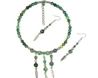 African Turquoise Native Gemstone Choker Set (Feathers)