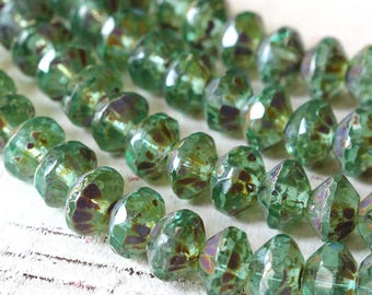 6x9m Czech Glass Saucer Bead - Czech Glass Beads - Jewelry Making - Firepolished Rondelle Rivoli - Green Aqua Picasso - 10 or 20 beads