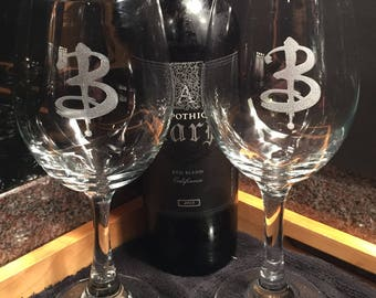"Two Buffy the Vampire Slayer Inspired ""Buffy B"" Logo Wine Glasses - Buffy Summers - Sunnydale - Wine Glasses - Slayer Glasses"