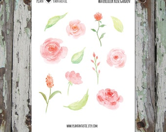 Watercolor Rose Planner Stickers -  Bullet  Journal Stickers - deco - diary - bujo