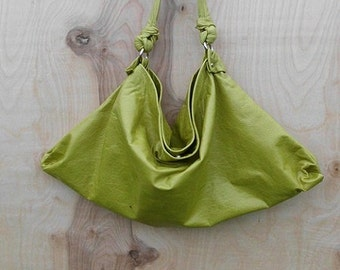 Lime Green Lambskin Leather Hobo Bag