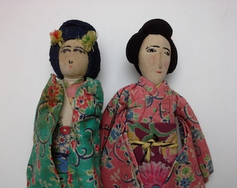 Vintage Japanese Art Doll, Asian Art Doll, Geisha Doll, Japan Doll, Geisha Doll, WWII Memorablia, Handmade Asian Doll, Japan Art Doll