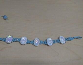 Blue Hemp Bracelet with White Shimmer Stones