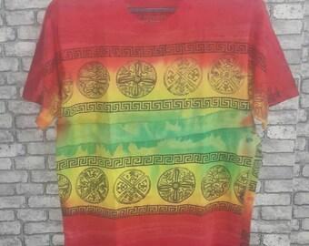 Vintage rare tribal allover tie dye print shirt
