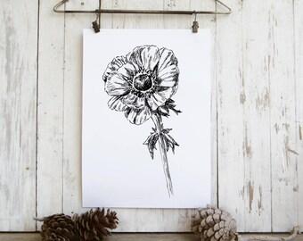 Anemone flower print, Spring decor, Black and white flower illustration, Printable wall art, Hostess gift, Instant download