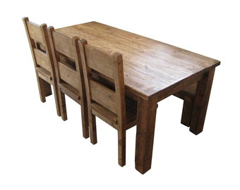 Chunky Wooden Dining Table & Highback Chair Package