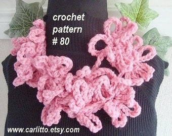crochet pattern, scarf- num. 80 LARIAT/SCARF, Number  80.. crochet pattern, instant download