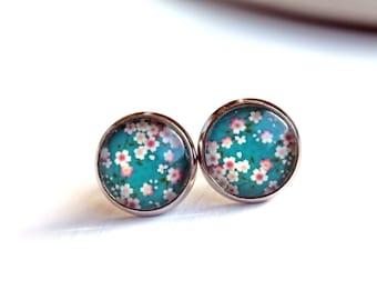 Pretty sakura flower earrings studs silver toned posts simple pink blue teal