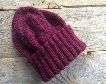 Womens winter hat handknit with burgundy wool