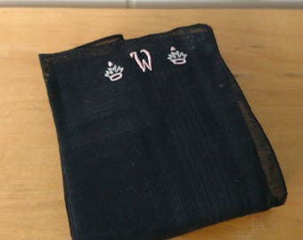 vintage black mourning hankie embroidered