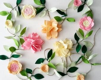 Felt Flower Garland - CUSTOMIZABLE- Felt flower vine, wedding decor, wall hanging, nursery decor, room decoration, baby shower decor