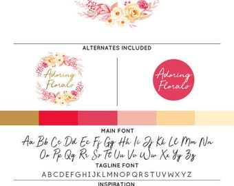 Shabby Chic Roses Logo & Watermark Premade Design - Custom Business Branding / Personal Name Text Graphics - Alternates Included