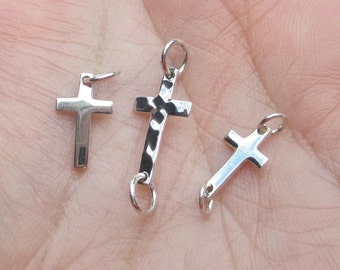 Sterling Silver Small Cross Link, Small Cross Charm or Hammered Cross - You choose which one