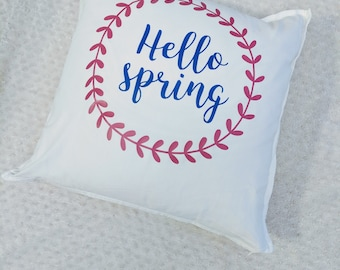 Hello Spring Throw pillow - spring home decor - spring - pillow cover - decorative pillow - spring gift - gift - housewarming gift -new home