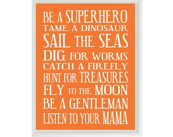 Nursery Art - Orange White Subway Art - Typography - Toddler Baby Boy Rules - Playroom Room Wall Art Print Poster