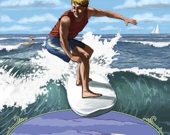 Folly Beach, South Carolina - Surfer with Inset - Lantern Press Artwork (Art Print - Multiple Sizes Available)