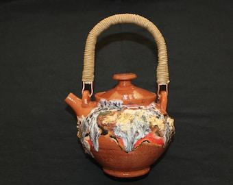 Small ceramic tea pot Mokume gane and rustic stiles 500 millilitres