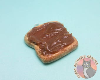 Peanut Butter Toast Charm - Choose your attachment! polymer clay charms, jewelry, keychain, necklace, phone strap, dust plug, key ring