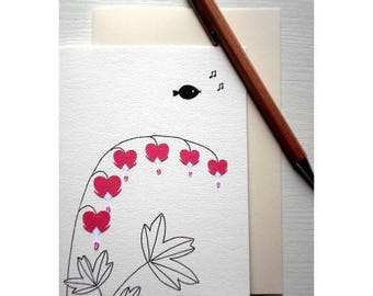 """Card """"hearts of Mary"""" / birds / paper cut and glued / handmade"""