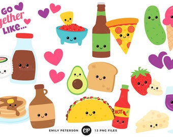 50% OFF SALE! Food Pairs Clip Art, Perfect Pair Clipart, Kawaii Clip Art - Commercial Use, Instant Download