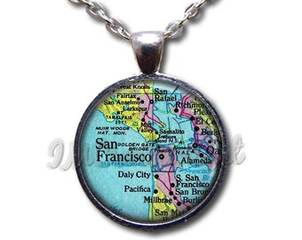 Glass dome pendant etsy san fransicsco road map glass dome pendant or with chain link necklace mp118 aloadofball Image collections