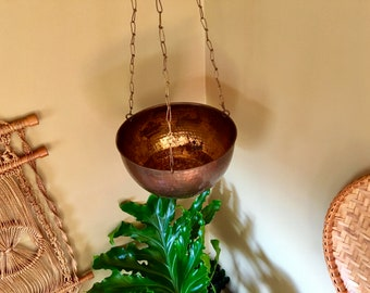 Vintage Bohemain Huge Hammered India Brass Hanging Planter w/ Delicate Chain & Gorgeous Aged Copper Toned Patina - Vintage Bohemian Decor