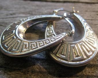 rich elongated GREEK KEY motif EARRINGS, sterling silver hoops, dimensional, finished both sides, 1 1/4 inch long...nice presence!
