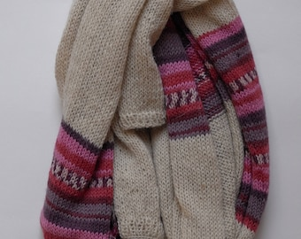 Cream with Pink and Purple Striped Long Scarf || 100% Alpaca Wool
