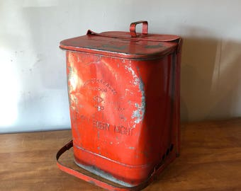 Vintage red square industrial rag trash can - great patina