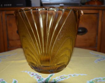 Vintage seau à glace en verre ambre