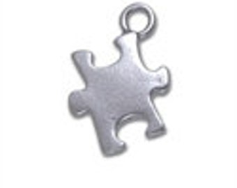 Puzzle Piece Charm - Sterling Silver