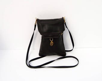 Black Genuine Leather  Extra Large Cell Phone Purse with Flap