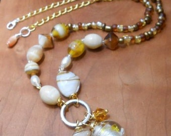 Casual Lampwork Bead and Pearl Mix Necklace-Lampwork  Jewelry -Beaded Necklace-Venetian Murano Glass-Handmade Jewelry