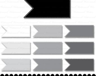 Eyelet ribbon Clipart clip art digital  journal tag embellish : c0086 & v001 black gray white