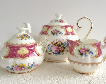 Large Royal Albert Lady Carlyle Tea Set Teapot, Creamer & Sugar