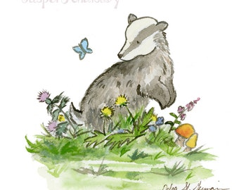 Woodland Nursery Art, Badger Nursery Print, Forest Nursery Art, Children's Art, Children's Wall Art, Badger Wall Art, Badger Art Print