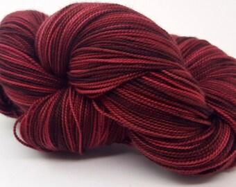 Mahogany Plum, Dark Red, ColorPurl Ritzy XL, Merino Cashmere Nylon, MCN, Hand Dyed Sock Yarn, 600 yards
