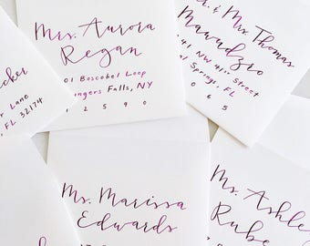 A7 Envelope Included - Guest Addressing, Modern Calligraphy, Handlettering, Hand-Lettered, Hand Lettered Envelopes (Plum on White)