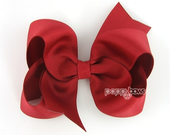 Girls Hair Bows, dark red hair bow, 4 inch hair bows - big hair bows - boutique bows - large hair bows hairbows - toddler hair bows non slip