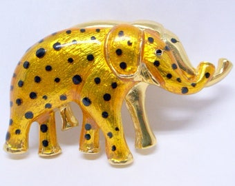 Vintage Elephant Pendant And Brooch -Big Gold Enamel Brooch - Gold And Black Brooch - Gold Enamel Elephant - Elephant Necklace