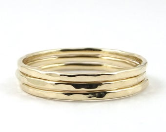 Gold Ring Set, Three Gold Stacking Rings, Thin 9K or 18K Solid Gold Dainty Ring, Hammered Ring, Knuckle Ring