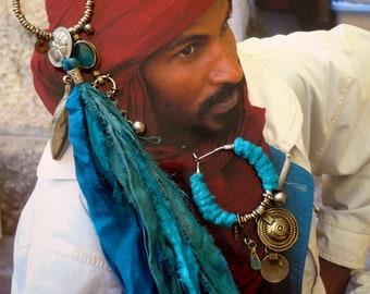 Creole Bohemian hippie chic - silk - long fiber earrings - Tribal Hindu - boho - style-fujigirls