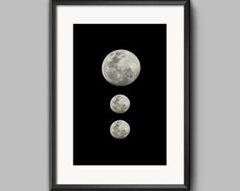 Full moon print Full moon poster Full moon art print celestial print celestial poster
