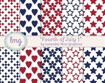 4th of July Digital Paper Pack, Independence Day, Patriotic Papers, July 4th Backgrounds, Red White Blue, Instant Download, Commercial Use