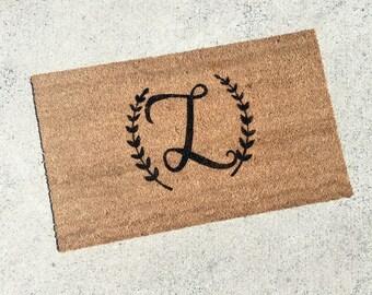 Monogrammed Doormat   Personalized Doormat   Custom Doormat   Custom Door  Mat   Personalized Welcome Mat   Custom Welcome Mat   Initial 039